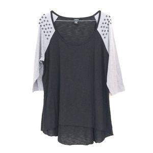Torrid Studded Hi-Lo Raglan Tee 3/4 Sleeve Size 2X